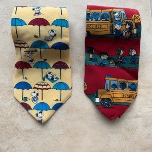 Two Peanuts/Snoopy Men's Neckties